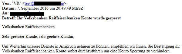 """Phishing-Mail """"Ihr Volksbanken Raiffeisenbanken Konto wurde gesperrt"""""""