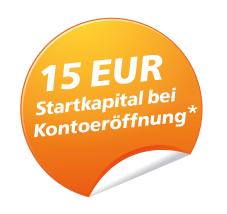 15 EUR Startkapital bei Kontoeröffnung